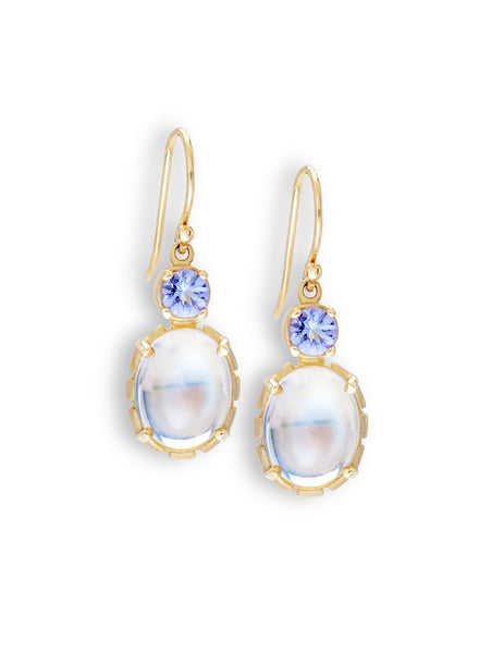 Blue Sheen Moonstone & Tanzanite Earrings