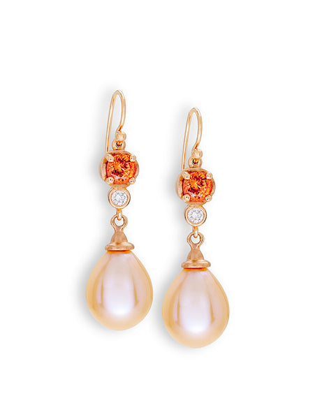 Sunset Spessartite & Peach Pearl Earrings