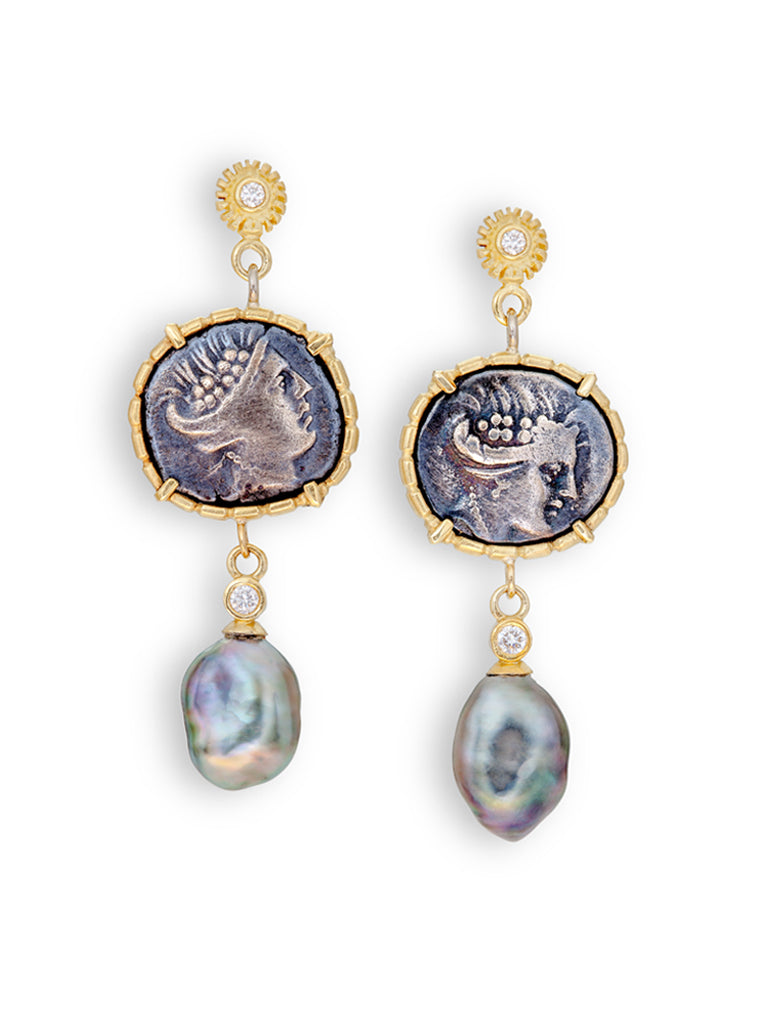 Head of Nymph Histiaea Greek Coins & Tahitian Pearl Earrings