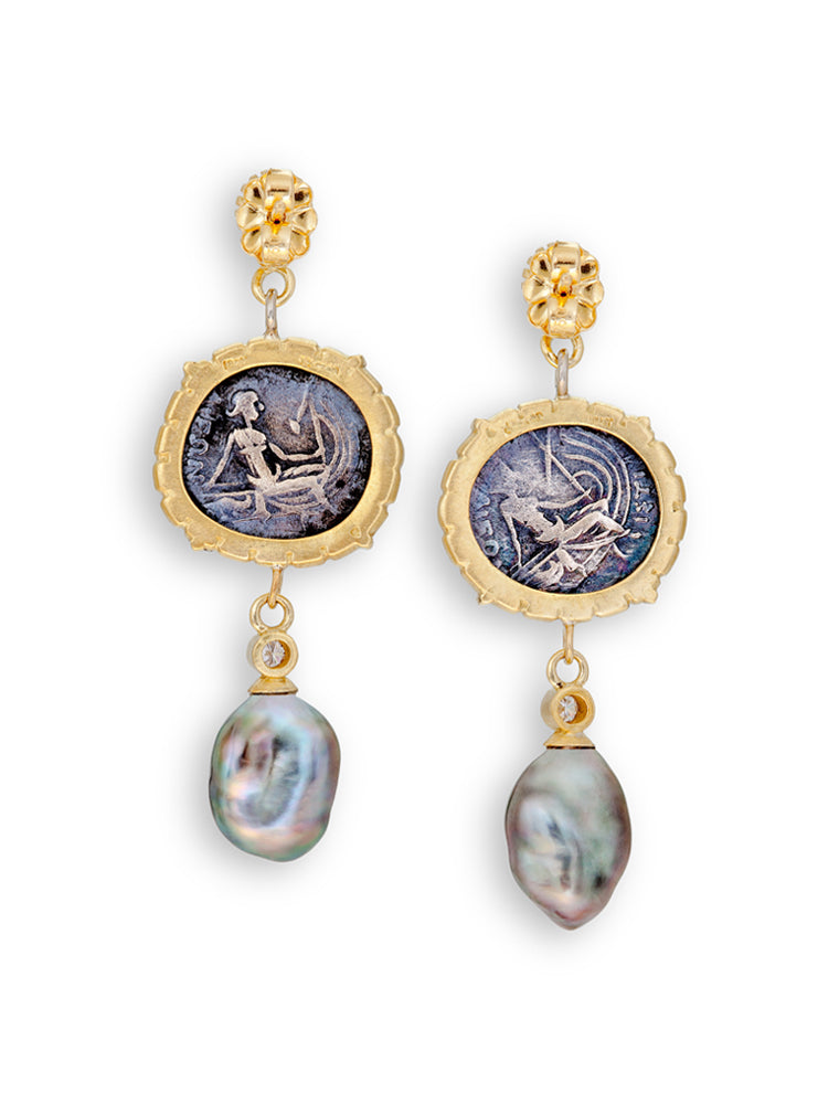 Greek Coin Nymph Histiaea & Tahitian Pearl Earrings
