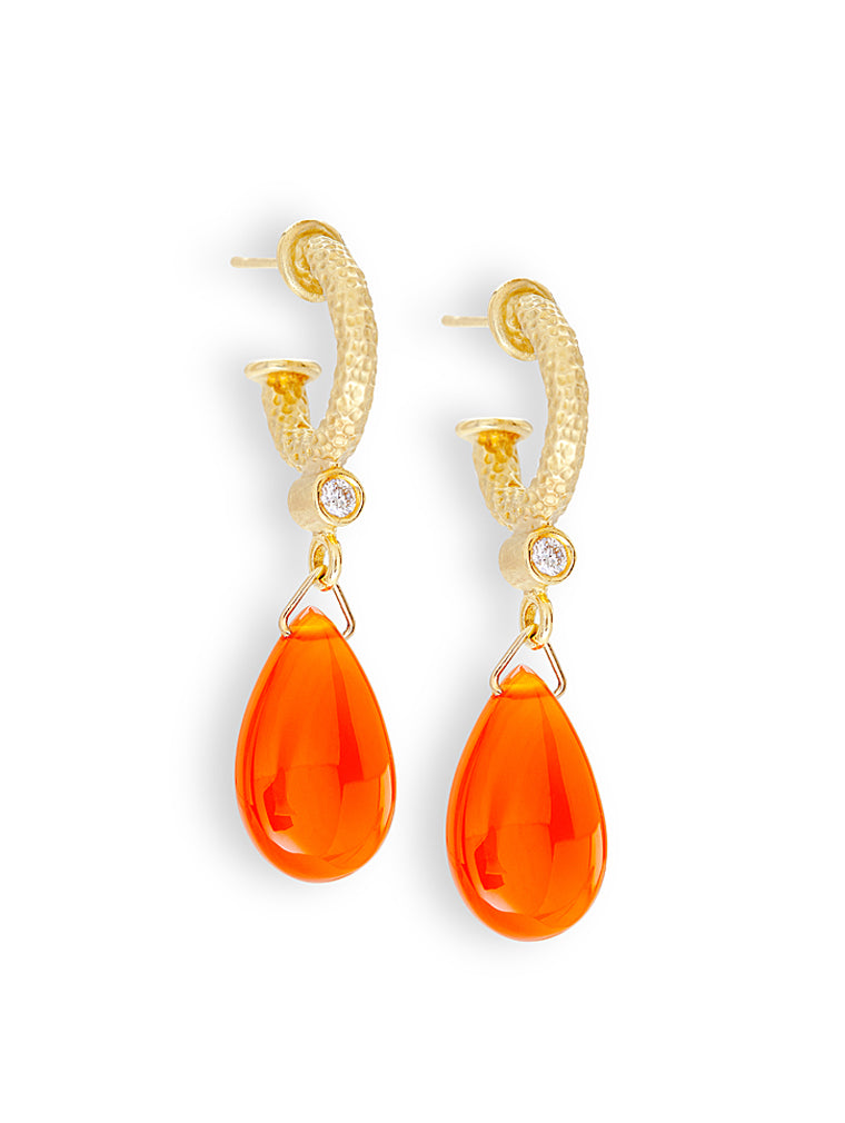 Carnelian Drop & Diamond Hoop Earrings