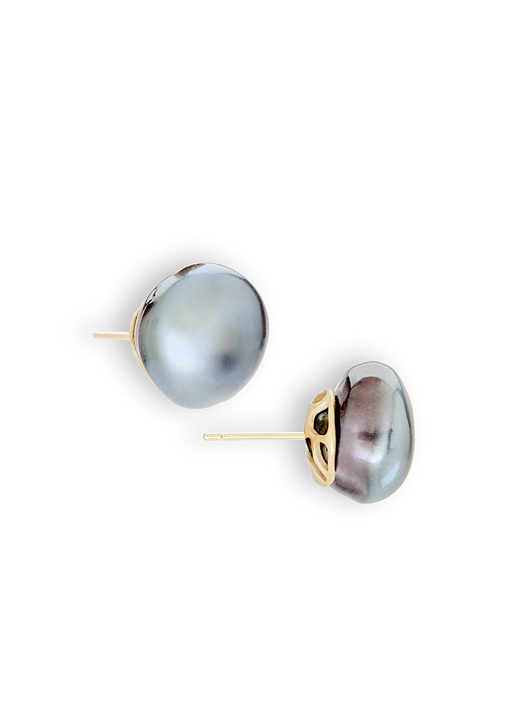 Tahitian Jumbo Pearl Button Earrings