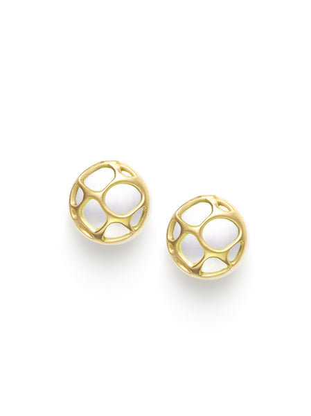 Gold & Pearl Button Earrings