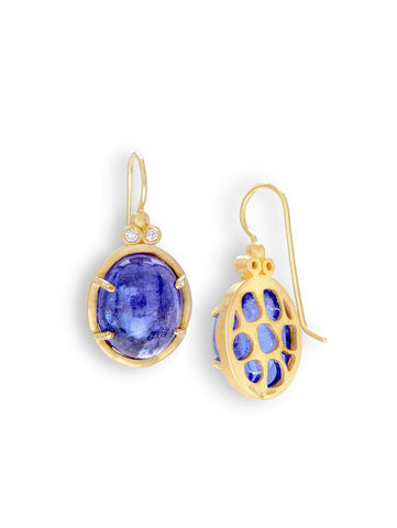 Tanzanite Cabochon & Diamond Earrings