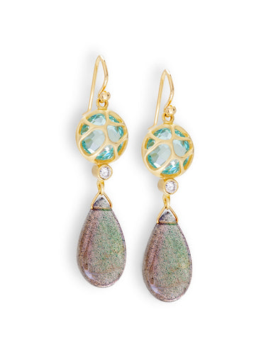 Peek-a-Boo Aquamarine & Labradorite Earrings