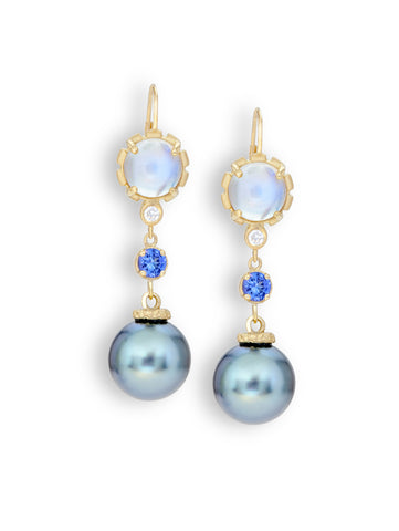 Blue Sheen Moonstone, Tanzanite & Tahitian Pearl Earrings