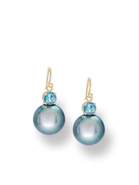 Teal-Blue Tahitian Pearl & Aquamarine Earrings