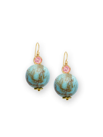 Turquoise & Peach Zircon Earrings