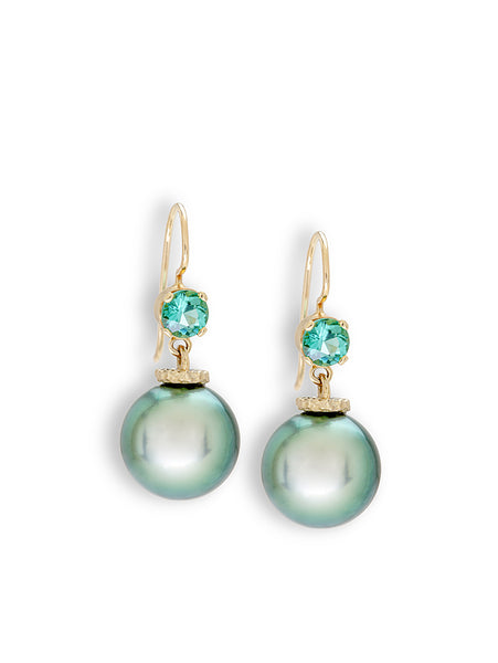 Seafoam Tourmaline & Tahitian Pearl Earrings