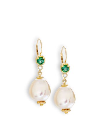 Green Tourmaline & Baroque Pearl Earrings