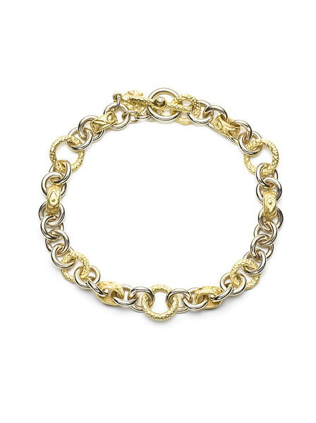 18K Yellow & White Gold Link Toggle Bracelet