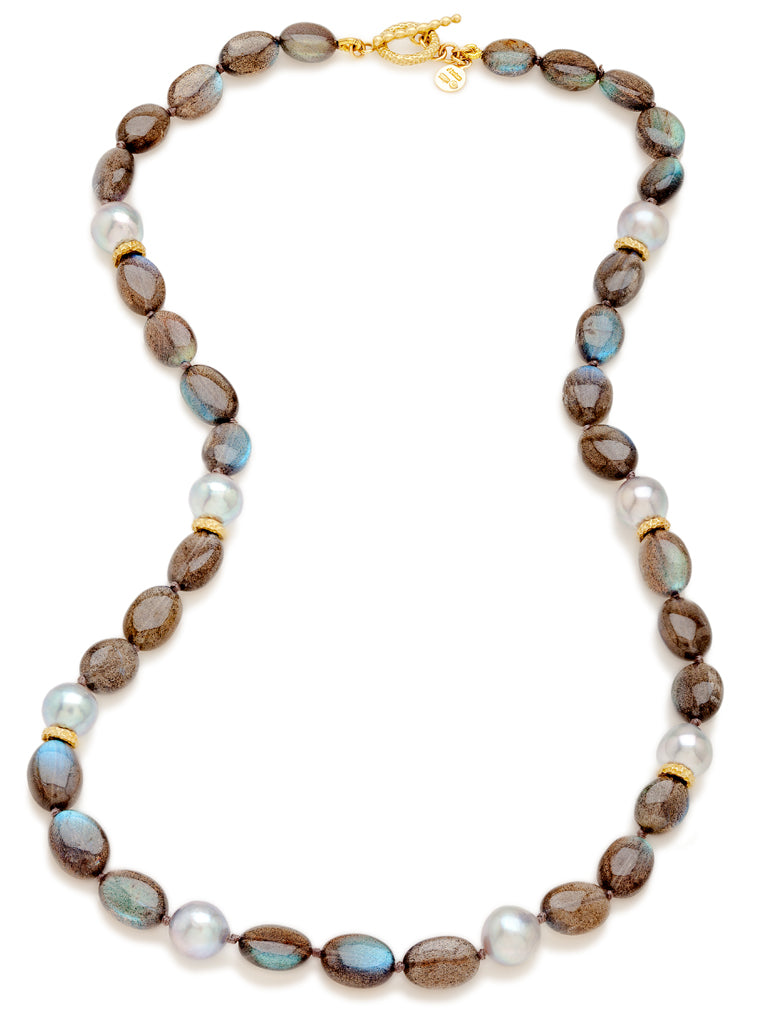 Labradorite Bead & Akoya Pearl Necklace