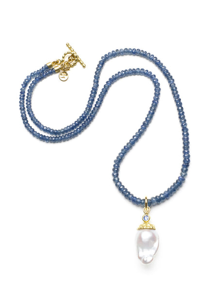 Sapphire Bead & Freshwater Pearl Necklace