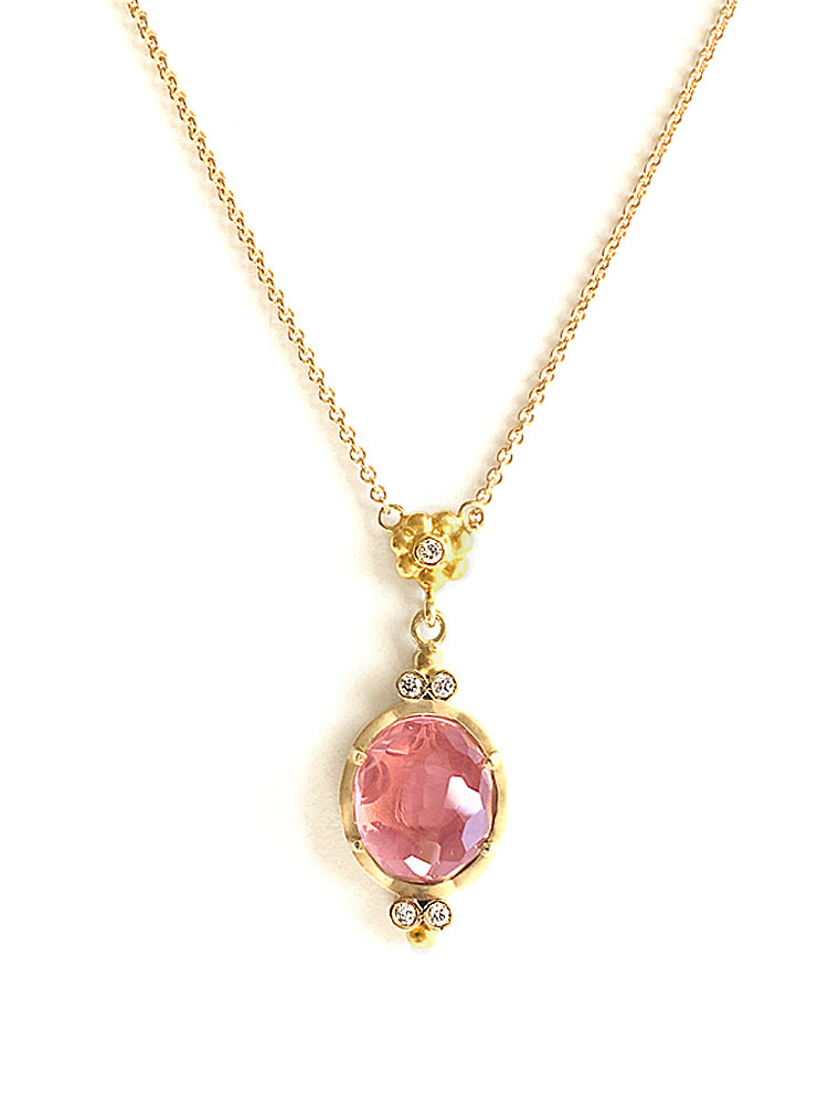 Rhodolite & Diamond Pendant Necklace