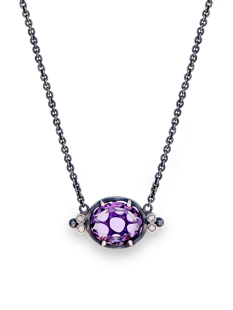 Transluscent Amethyst & Diamond Chain Pendant
