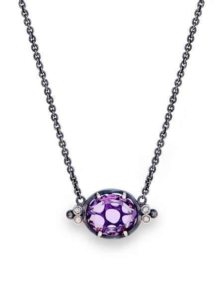 Amethyst & Diamond Chain Necklace