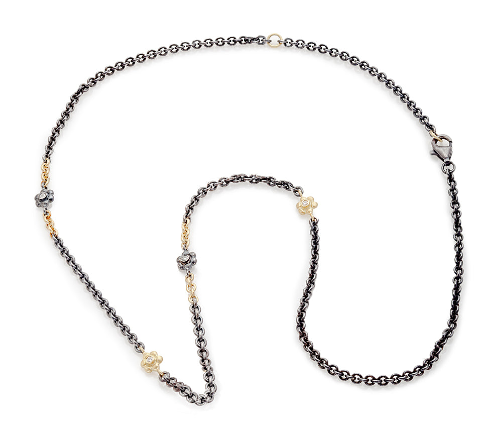 Diamond Floral 2-Tone Chain Necklace