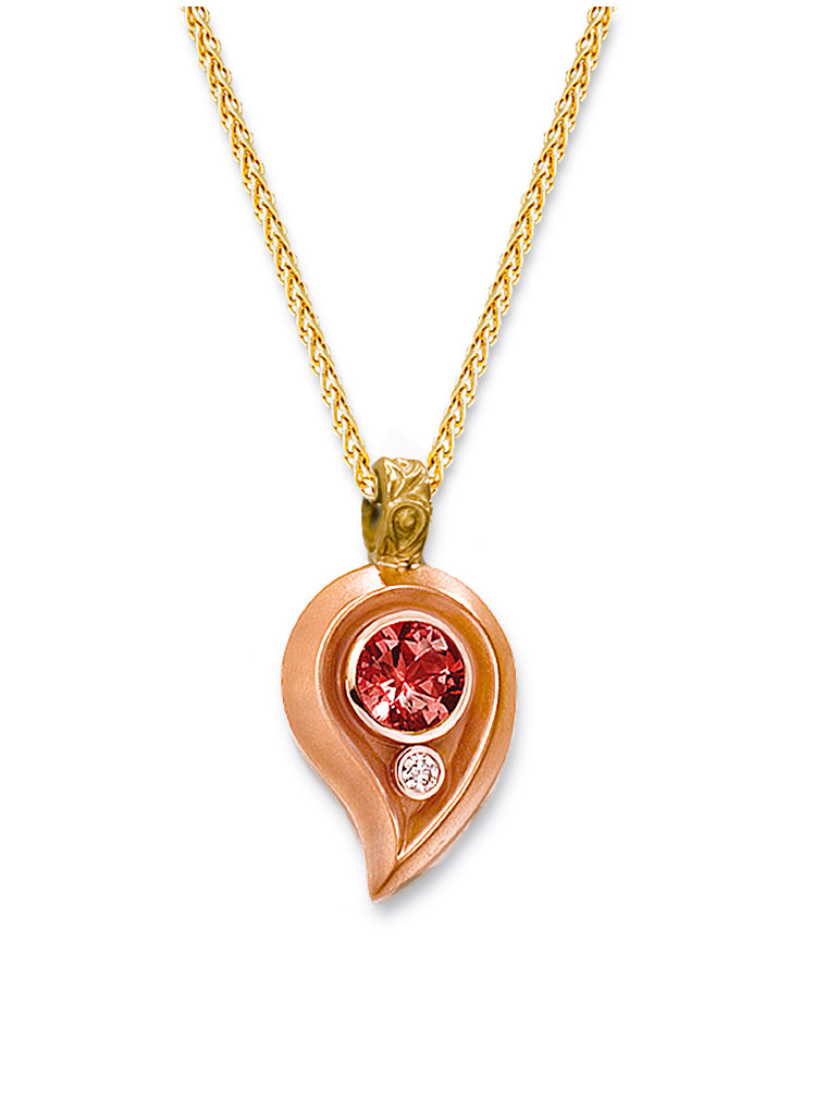 Rose Gold Paisley & Rhodolite Enhancer Pendant