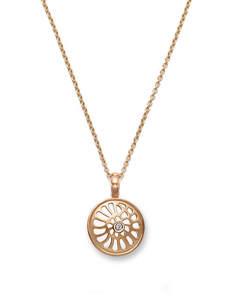 Nautilus & Diamond Rose Gold Pendant