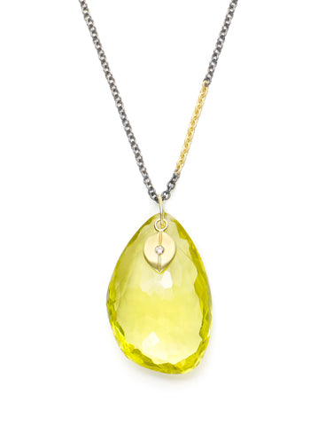 Lemon Quartz & Diamond Organic Charm