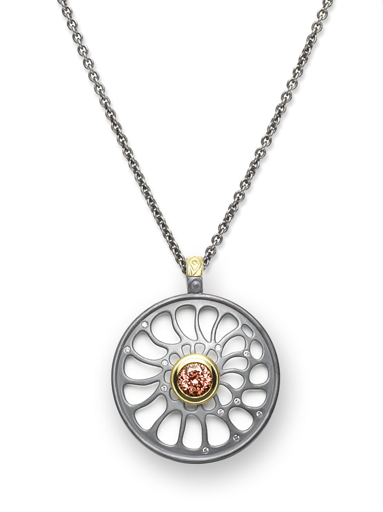 Nautilus Design & Peach Zircon Enhancer Pendant