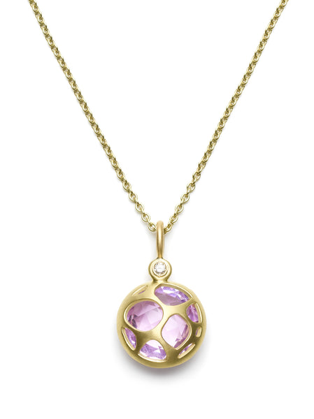 Faceted Amethyst & Diamond Pendant