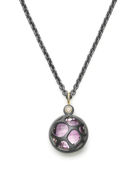 Rose Amethyst & Diamond Pendant