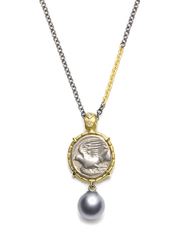 Dove & Chimera Greek Coin Pendant