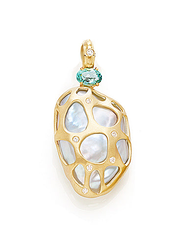 Baroque Pearl & Sea Green Tourmaline Enhancer Pendant
