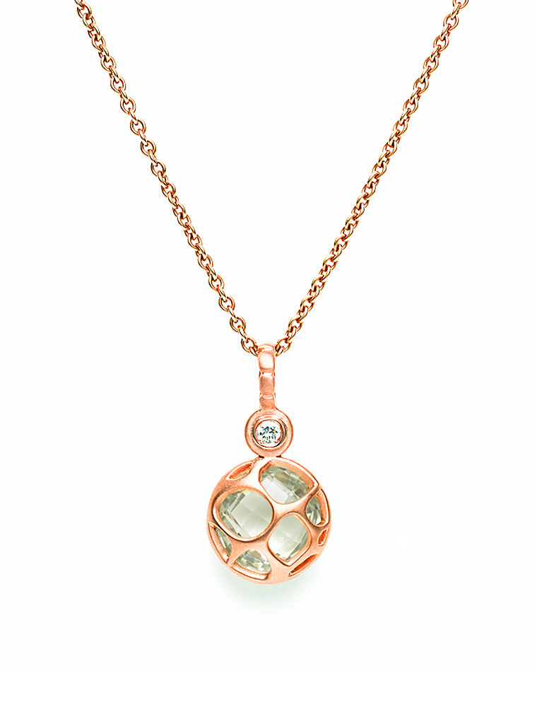 Rose Gold, Green Quartz & Diamond Pendant