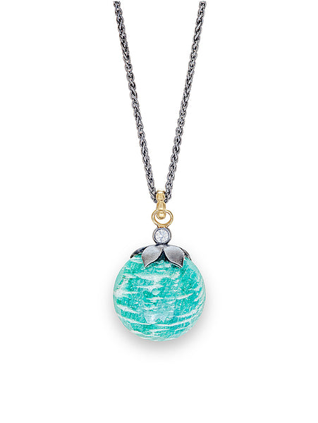 Amazonite Faceted Orb & Diamond Pendant