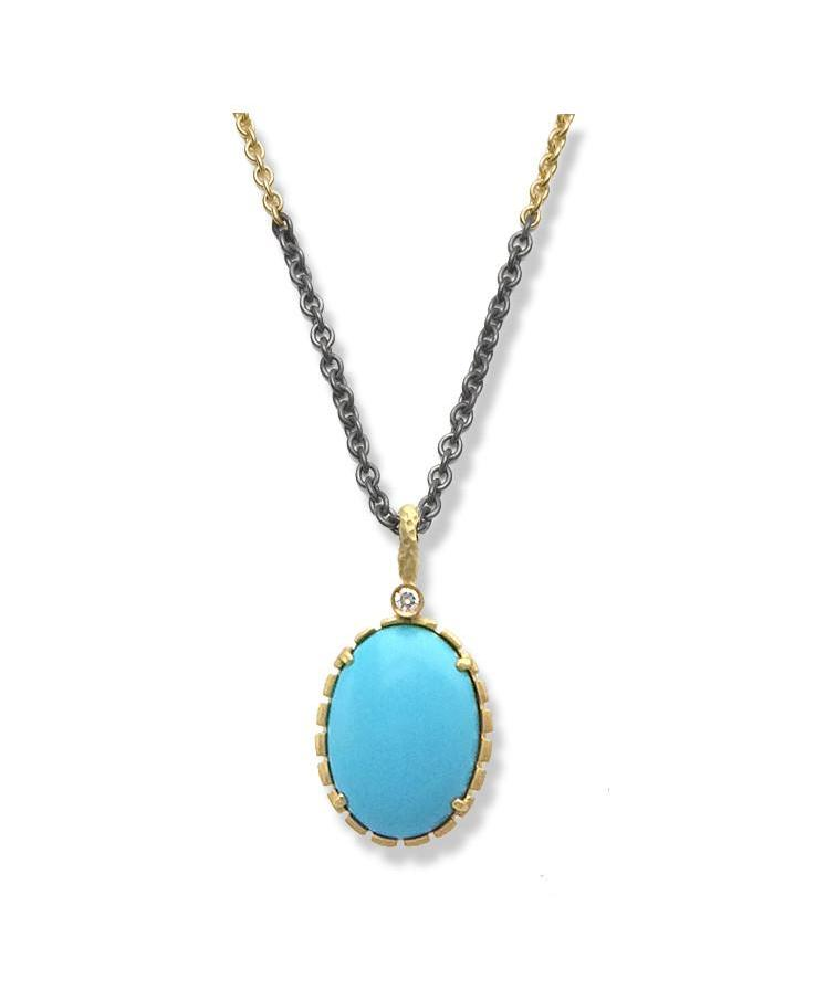 Sleeping Beauty Turquoise & Diamond Pendant