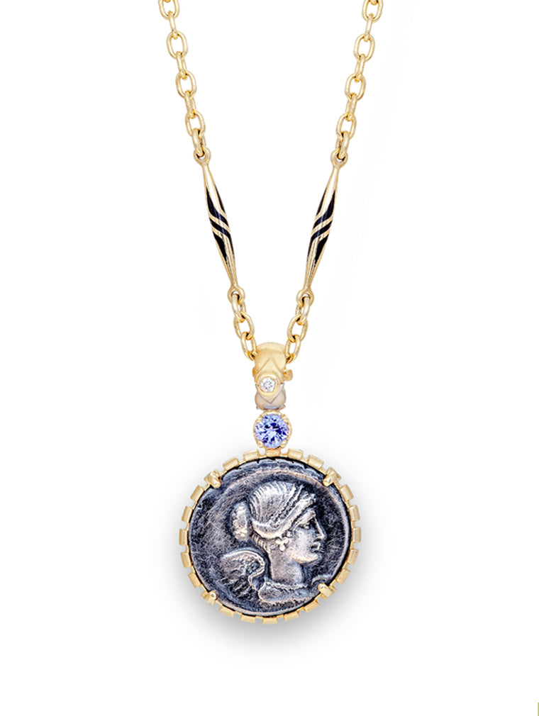 Roman Coin Bust of Victory & 18K Gold Necklace