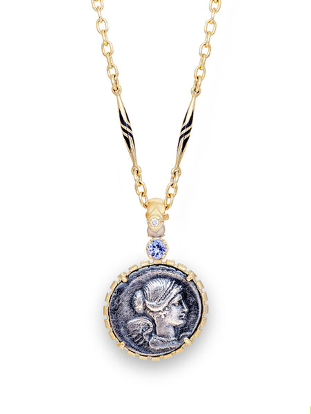 Bust of Victory Roman Coin & 18K Antique Necklace