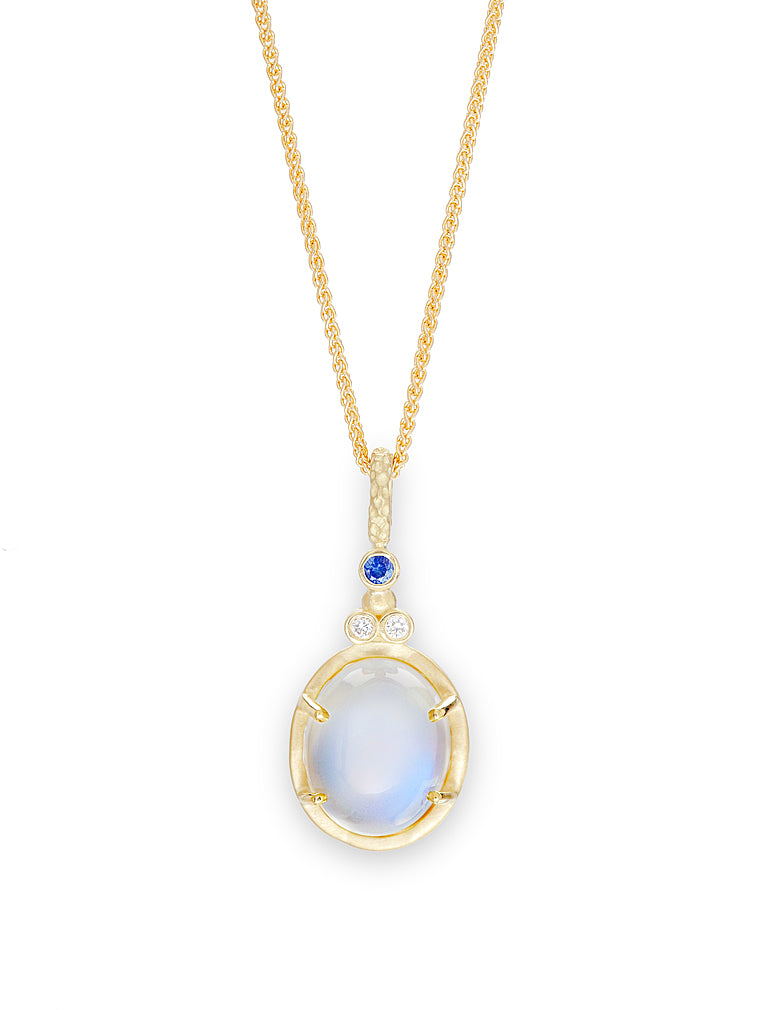 Blue-Sheen Moonstone, Sapphire & Diamond Pendant