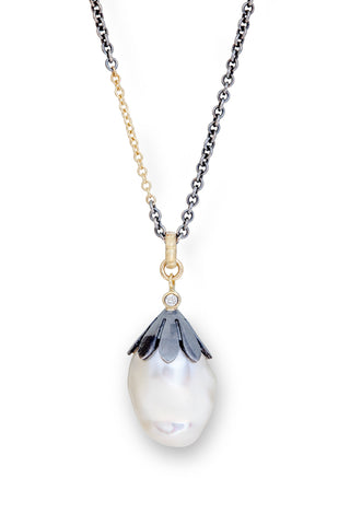 Floral Pearl Drop & Diamond Pendant