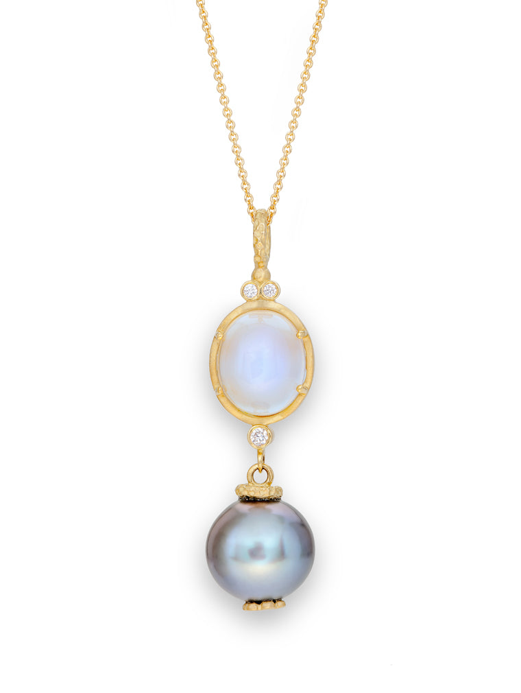 Blue Sheen Moonstone, Diamond & Tahitian Pearl Pendant