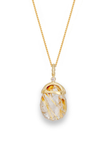 Golden Rutile Quartz & Diamond Pendant