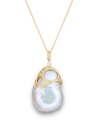 Baroque Pearl & Diamond Pendant