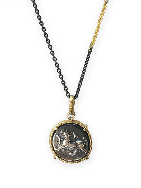 Greek Chimera & Dove Coin Pendant