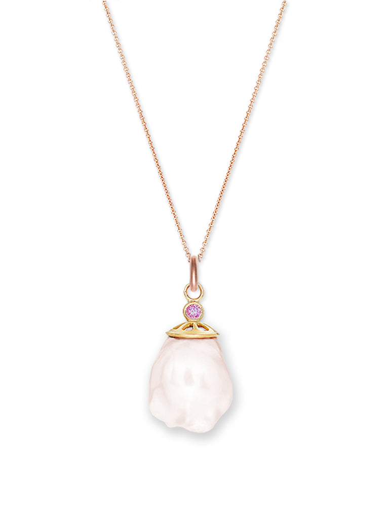 Freshwater Baroque Pearl and Pink Sapphire Pendant