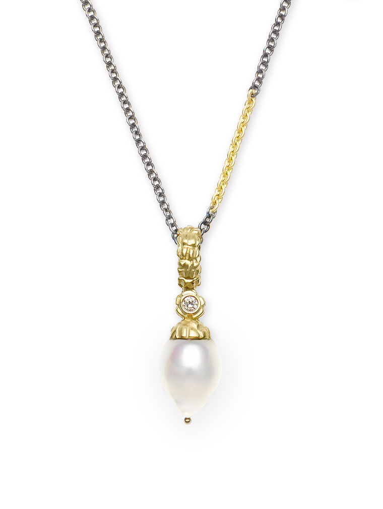 Diamond and Baroque Pearl Enhancer Pendant