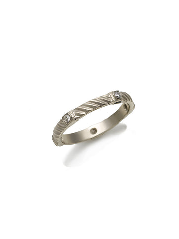 White Gold Diagonal Ridged Diamond Band