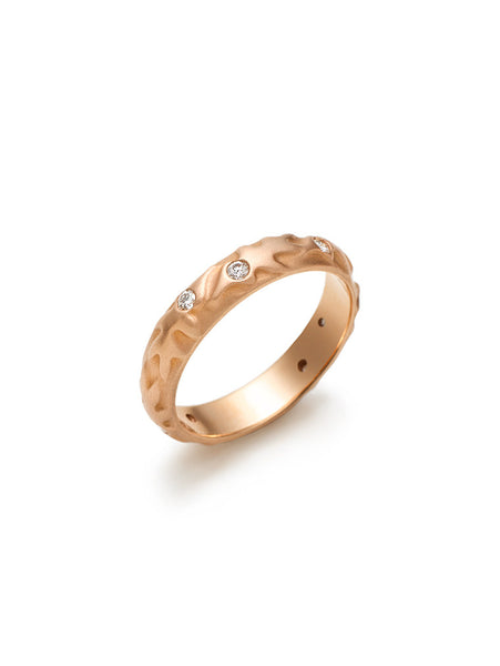 Oak Leaf & Diamond Rose Gold Band