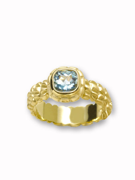 Cushion Cut Aquamarine and Alligator Texture Ring