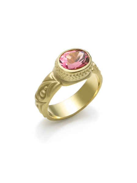 Pink Tourmaline Paisley Pattern Ring