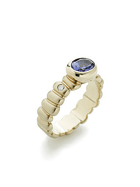 White Gold Cobblestone, Diamond, & Iolite Ring