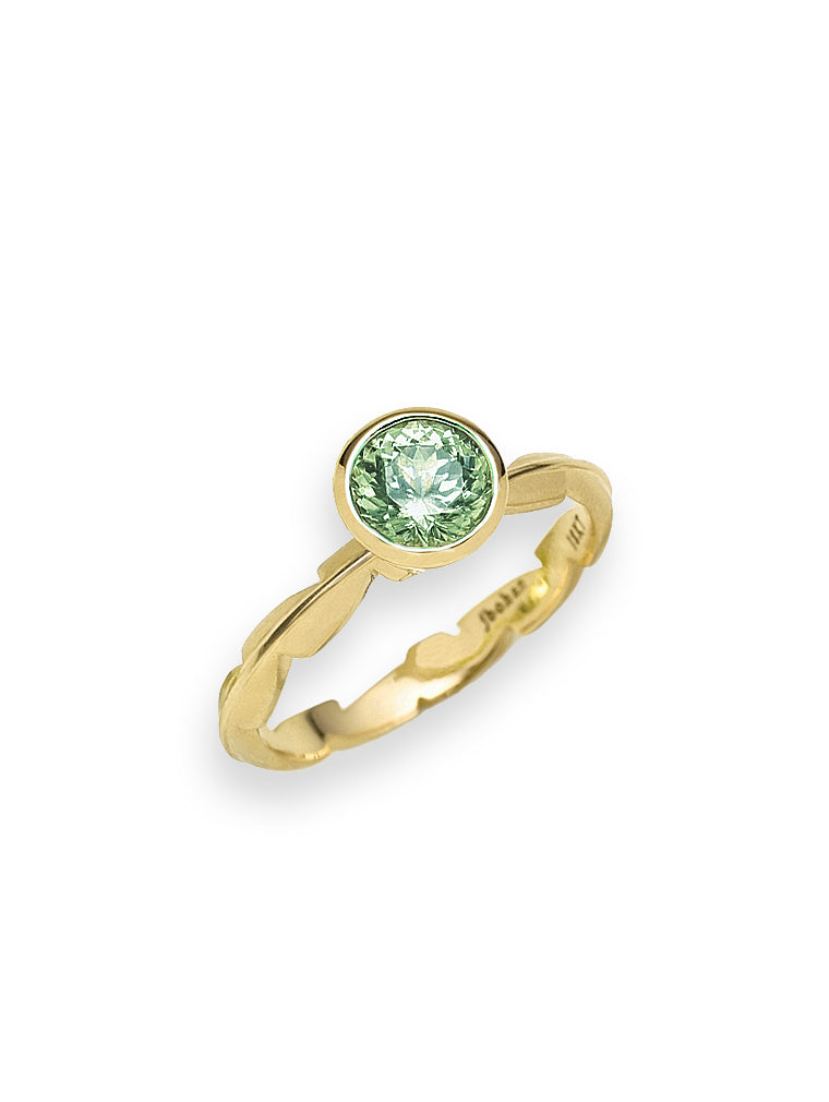 Green Tourmaline & Sweet Fern Ring