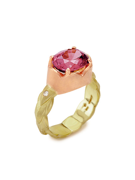 Rose Pink Zircon & Diamond Entwined Ring