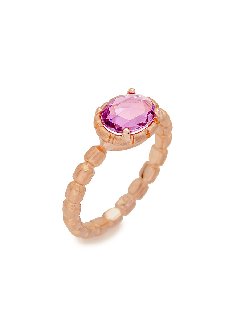 Rose Cut Pink Sapphire & Bamboo Ring